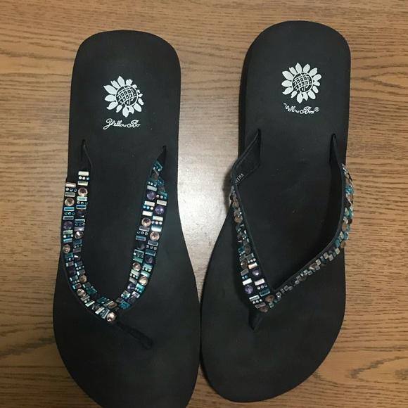Multicolor Jeweled Flip Flops